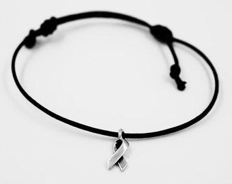 "Boho ""Pink"" Ribbon, Bracelet, Sliding Knot, Tierracast, Charm, Women, Awareness,"