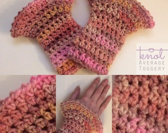 Fluted Wrist Warmers - OOAK Pinks and Oranges UK Shop