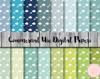Sky Digital Paper, Cloud Pattern, Instant Download Digital Papers, Commercial Use, Scrapbook Digital Papers, Digital Background, dp53