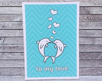 Dolphin Love Card / Anniversary