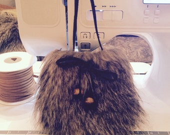 fur like cross body purse for little girls