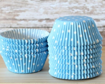 Blue and white polka dot cupcake liners set of 25-cupcake liners, blue and white polka dot cupcake wrappers,  christmas cupcake liners,