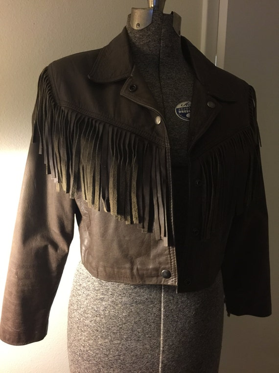 Vintage brown leather fringe cropped jacket