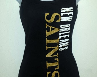 New Orleans Saints Crystal Studded Tank Top