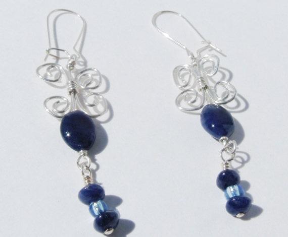 Blue Adventurine Butterfly Earrings