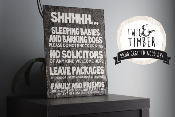 No Solicitors Sign for parents! CUSTOM COLORS Sleeping Baby Sign; Barking Dogs Sign!