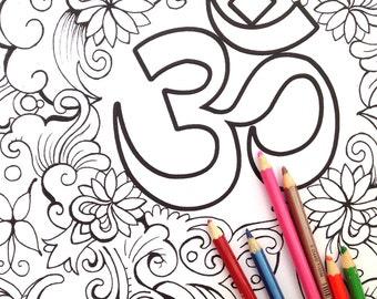 Om Symbol Coloring Poster | Om Symbol Colouring Poster | Yoga Coloring Poster | Yoga Colouring Poster | Om Meditation Poster