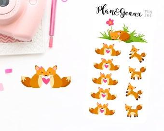 Foxes Planner Stickers, Fox Planner Stickers, Happy Planner Stickers