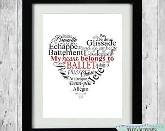 Personalised Hobby Print - My Heart Belongs To Ballet