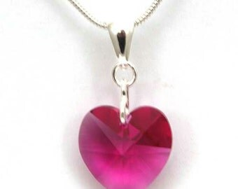 "Swarovski Crystal Fuchsia 6202 Heart Pendant 18mm, 28mm on Sterling Silver 18"" Chain"