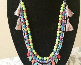 Howlite, Crystal, & Quartzite Statement Necklace