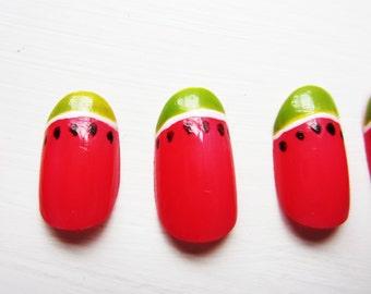 Watermelon Handpainted False Nails, Nail Art, Fruit Fake Nails