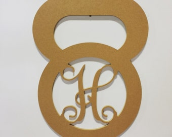 MDF Unfinished Kettlebell Monogram, Crossfit, Fitness Door Hanger,Wall Decor