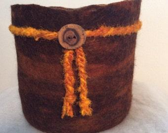 Wool Felted Vessel - Coyote Brown