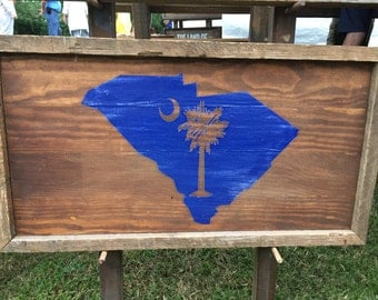 """Reclaimed Lumber Sign """"SC State w/ Palmetto"""""""