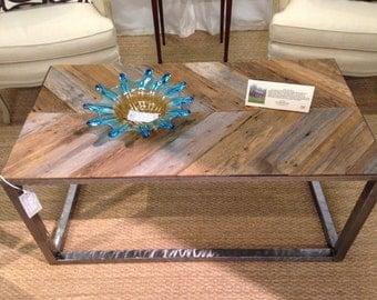 Coffee Table w/ Reclaimed Lumber & Welded Steel Legs