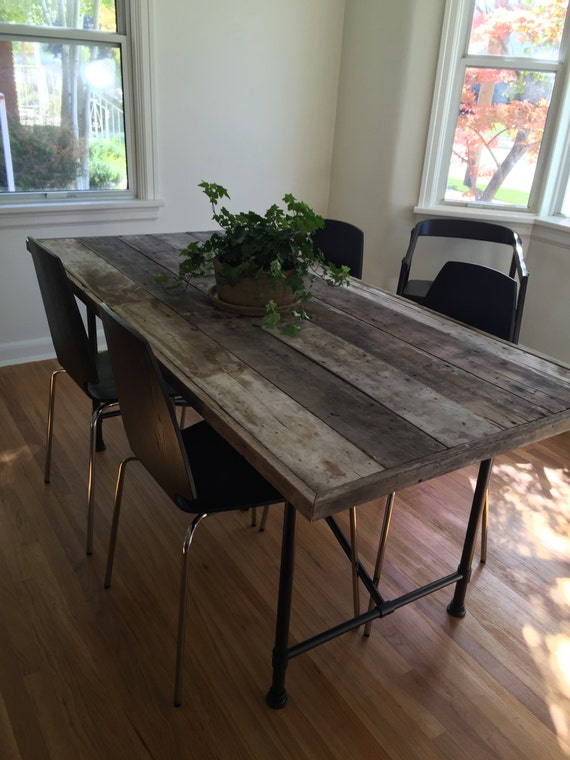 reclaimed wood dining room table by elizabethanddavid on etsy
