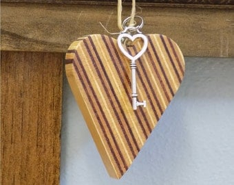 Wooden Heart Christmas Ornament
