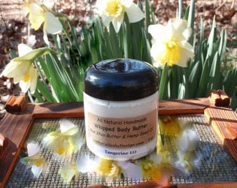 Raw Whipped Shea Butter with Hemp Oil, 4 oz or 8 oz Jar, Natural Unrefined, African Whipped Body Butter, Essential Oils, Body Cream