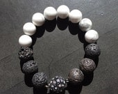 Lava bead bracelet with howlite and magnetic clasp