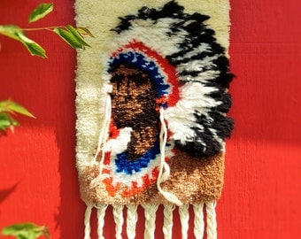 Vintage Native Chief Hooked Rug Wall Hanging