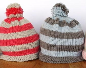 Easy baby hat knitting pattern - baby bobble hat - baby beanie hat - stripey baby hat - beginner baby knitting pattern - baby football hat