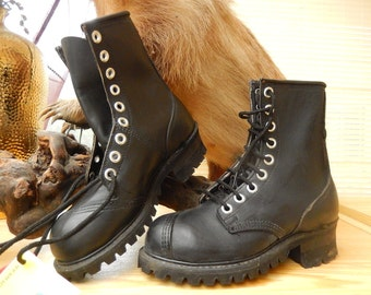 na*na industrial strenght boots black leather 80's,  size 5, new