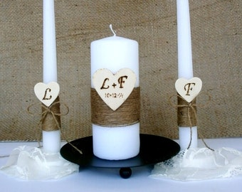 Unity Candle Rustic Unity Candle Set Personalized Unity Candles Unity Ceremony Set Rustic Candles Set Heart Personalized
