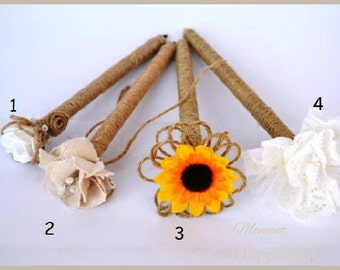 One Burlap Wedding Pen for Guest book Rustic Country wedding with Flower Rose Sunflower Wedding Decor Reception Decoration
