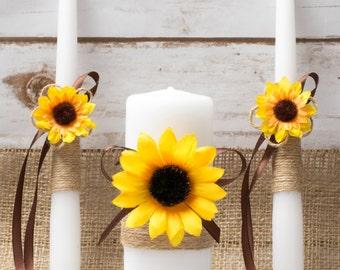 Unity Candle Set Sunflower Unity Candle Rustic wedding Caremony