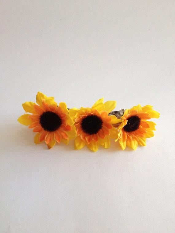 Sunflower Barrette Wedding Hair Accessories By Happyweddingart