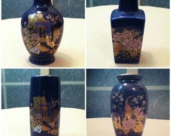 Set of Four Vintage Cobalt Mini Vases