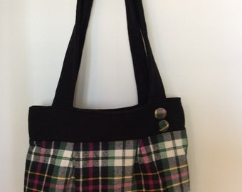 Flannel Hobo Bag w/Inside Pocket {Pink, Green, Yellow & White}