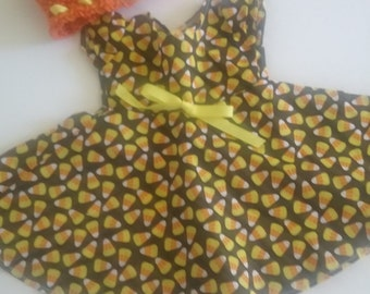 18 inch doll dress clothes candy corn halloween made for the American girl doll