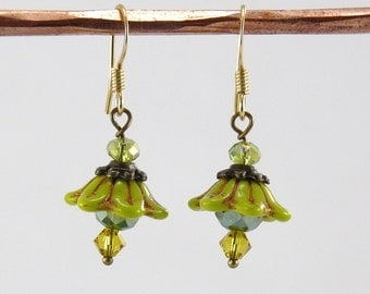 Glass Flower Earrings Dangle Earrings Gift Jewelry Gift Gold Earrings Mothers Day Gift Bridesmaid Gift Jewelry Drop Earrings VanBeekJewelry