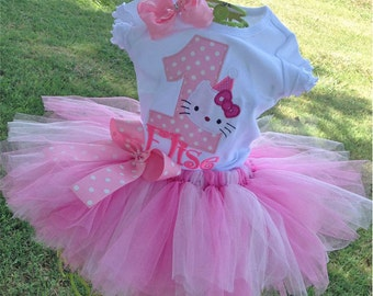 Hello Kitty 1st Birthday Outfit Onesie Tutu FREE Hair Bow Personalized