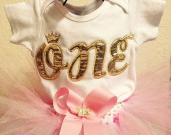 Pink Gold One 1st Birthday Outfit Onesie Tutu FREE Hair Bow Personalized