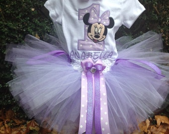Purple Lavender Minnie Mouse 1st Birthday Outfit Onesie Tutu FREE Hair Bow Personalized