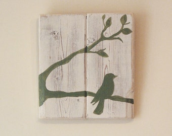 Reclaimed Wood Shabby Chic Hand-Painted Bird Design - Small