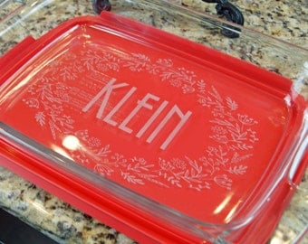 Custom Engraved Baking Dish with Lid, Personalized Casserole Dish, Engraved Casserole Dish, Casserole Dishes, Casserole Dishes, A-3