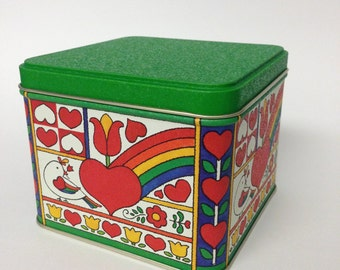 Vintage Collectible Potpourri Press 1980's Tin Box with Hearts, Rainbow, Flowers