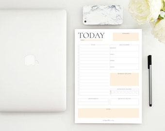 Cream Daily Desk Planner - Instant Download - Printable A4 Template