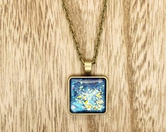 Glittery Hand Painted Glass Cabochon On Bronze Chain Necklace