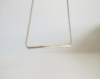 Sterling silver bar necklace & bead chain