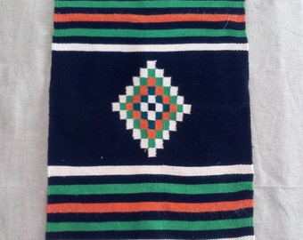 Tunisian colorful Kilim rug with geometric pattern