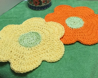Crochet Dishcloth, Flower Dishcloths Set of 2, Cotton Dishcloths, Crocheted Washcloth, Kitchen Dishcloth