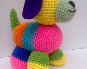 Patchwork Puppy, Crocheted Stuffed Amigurumi, Puppy Dog
