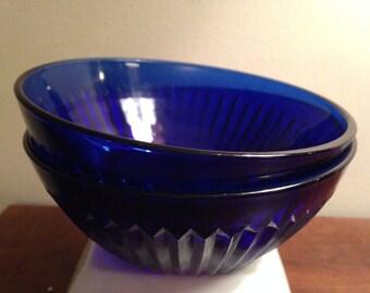 Cobalt Blue Glass Patterned Bowls - Set of 2 / Cereal Soup Bowls / Vintage Dinnerware