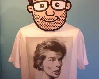 Katharine Hepburn Hollywood Actress Film T-Shirt (GR8 K8 - Great Kate) - White Shirt