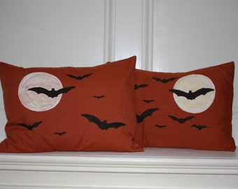 "Bats Against Moon Pillow Cover, Hand-Painted, 12""x16"""